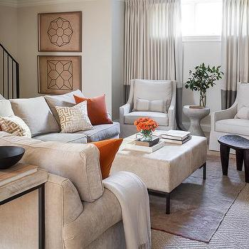 White Sofa With Orange Hermes Throw Cottage Living Room