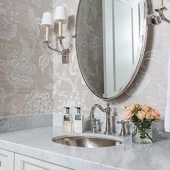 round pivot powder room mirror design ideas