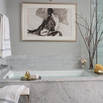 Marble Clad Bathtub With Paris Flea Market Chandelier