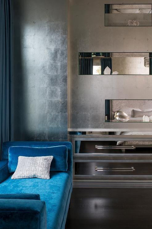 Silver and Blue Bedroom with Blue Velvet Bench - Contemporary - Bedroom