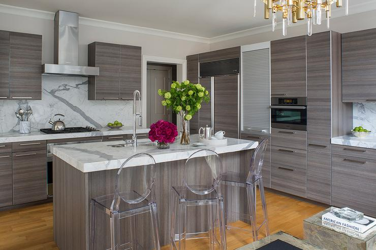 Small White KItchen with Charcoal Gray Countertops and ...