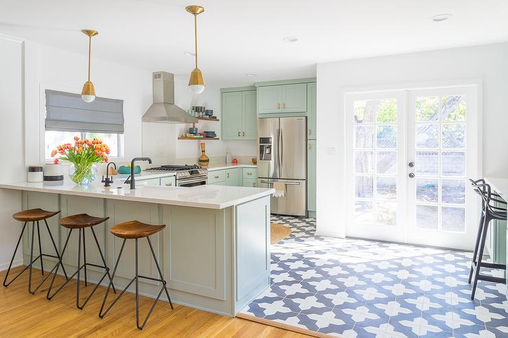 Mint Green Kitchen With Blue Moroccan Tile Floor View Full Size