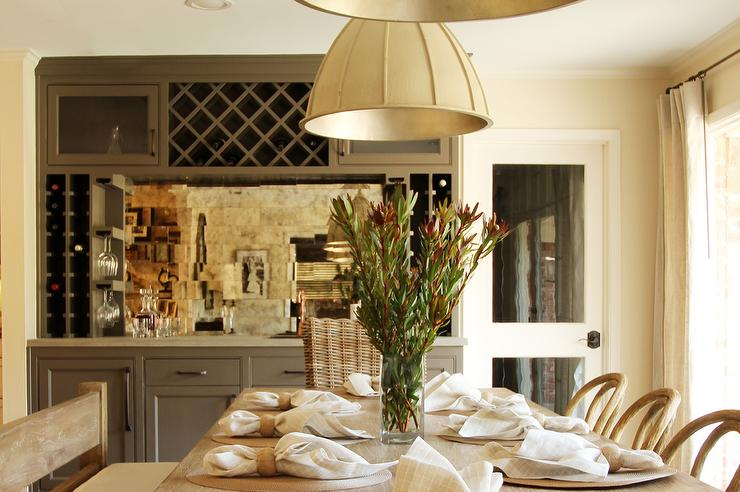 Gray Dining Room Bar With Mirrored Backsplash