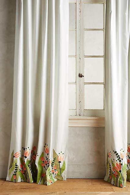 Sky Blue Tulip And Eucalyptus Curtain
