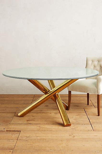 Gold Legs Crackled Glass Dining Table