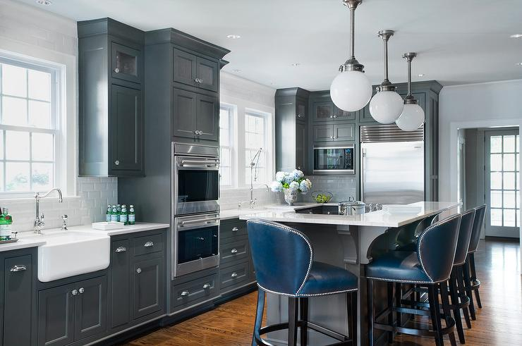 Dark Gray Kitchen Island With L Shaped Raised Breakfast