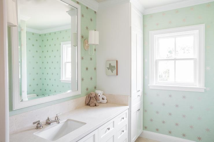 Mint green bathroom vanity with mint green dot tiles for Mint green bathroom ideas