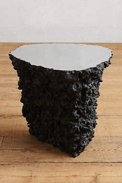 Black Lava Stone Side Table