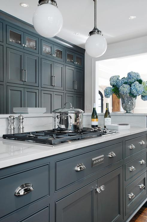 Gray Cabinets With Luce Di Luna Quartzite Transitional