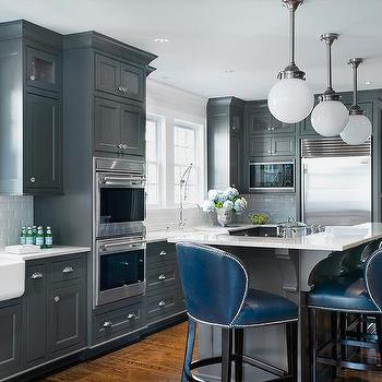 Dark Gray Center Island With Deep Blue Leather Counter