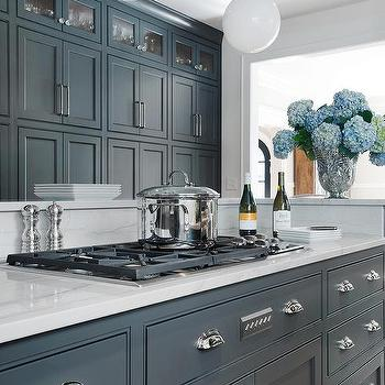 Dark gray center island with deep blue leather counter for Blue gray paint for kitchen