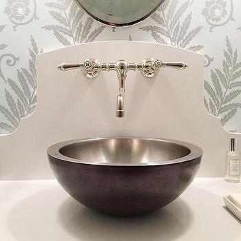 Blue and gold powder room with bronze and glass washstand for Bronze and silver bathroom accessories