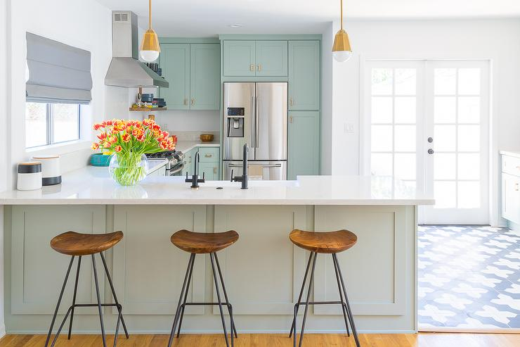 Mint Green Kitchen Peninsula With Brass Mini Pendants