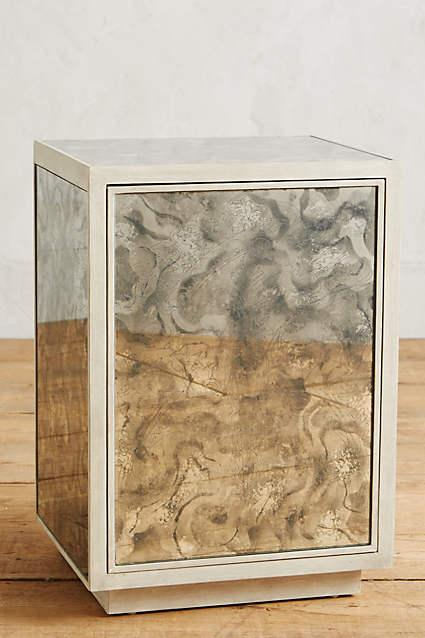 Top Grey Fontaine Mirrored Nightstand RG43