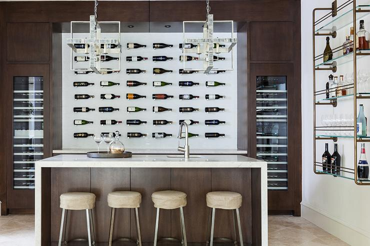 Contemporary Wine Cellar With Wall Wine Bottle Display