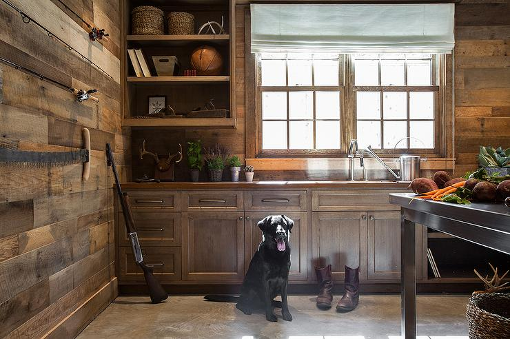 Rustic Country Cabin Mudroom With Concrete Floor