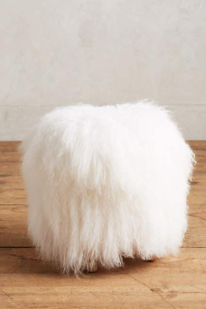 white shag puff mini stool