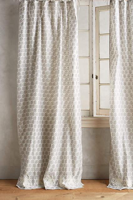 Beige And White Stripe Silk Curtain