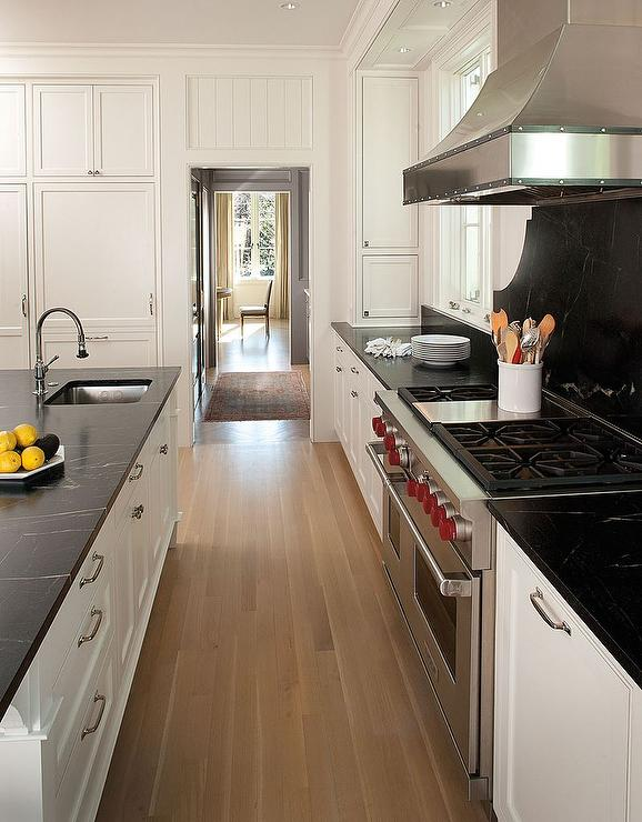 White Shaker Kitchen Cabinets with Black Soapstone ...