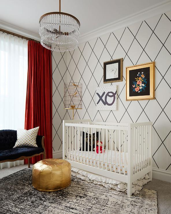 White Nursery Glider And Ottoman With Black Piping With