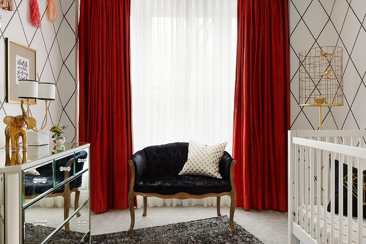 Black And White Nursery With Red Curtains Contemporary Nursery