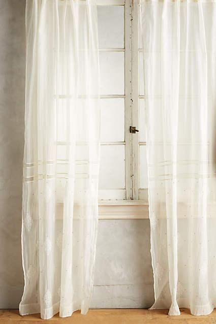 Cream Speckled Silk Curtain