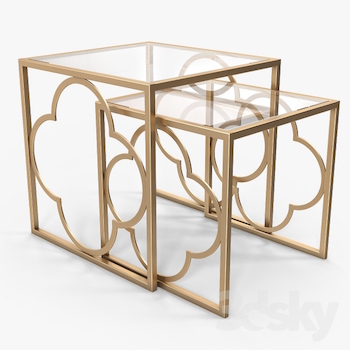$1,400.00. Quatrefoil Nesting Tables
