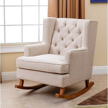 Abbyson Living Thatcher Beige Fabric Rocker Chair