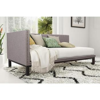 tufted linen ivory chesterfield daybed. Black Bedroom Furniture Sets. Home Design Ideas