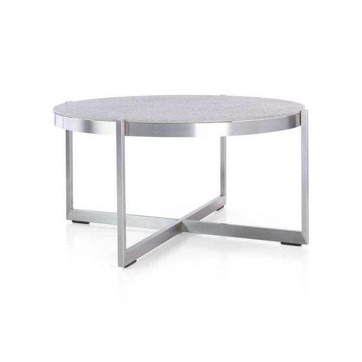 Silver Dune Round Coffee Table With Pebbled Glass