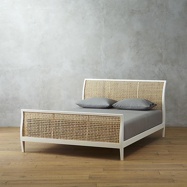 white and beige cecilia bed