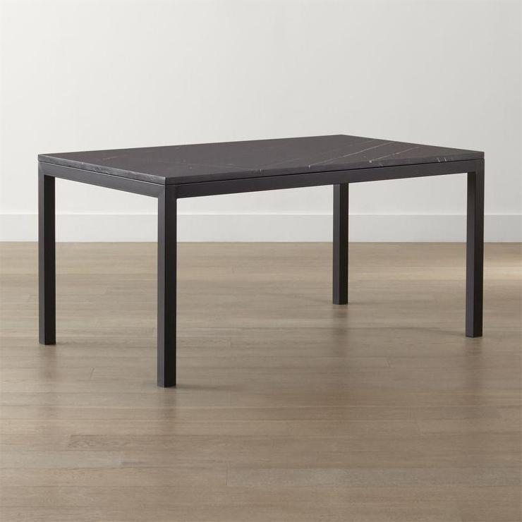 Parsons Black Marble Top And Dark Steel Base Dining Table