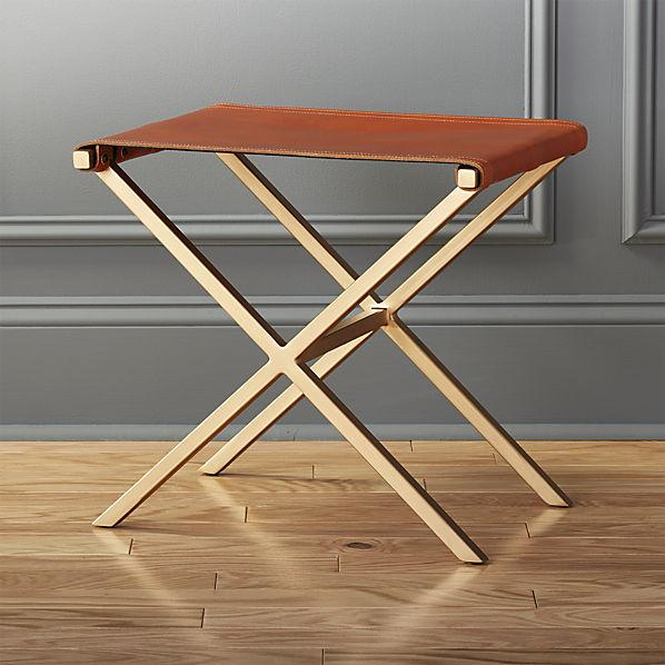 Brown Leather Criss Cross Stool