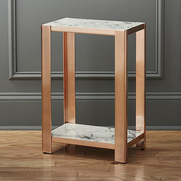 via marble rose gold side table