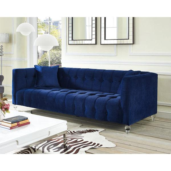 Navy Blue Velvet Tufted Bottom Sofa