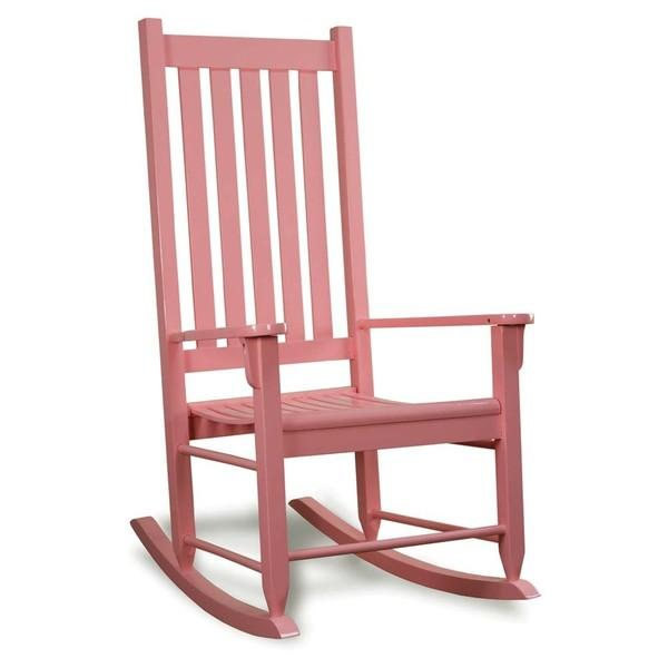 Pink Traditional Wooden Rocking Chair View Full Size