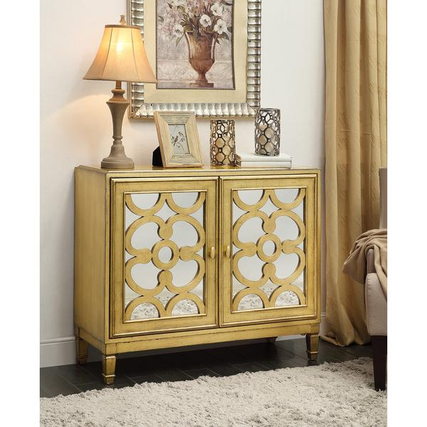 Exceptional Somette Gold Leaf Two Door Cabinet