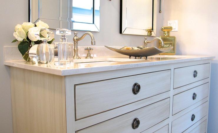 Antiqued White Dual Vanity With Carrera Marble Top Transitional
