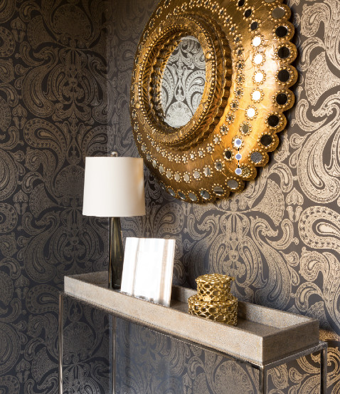 Silver Foyer Mirror : Gold metallic peacock mirror with gray console table