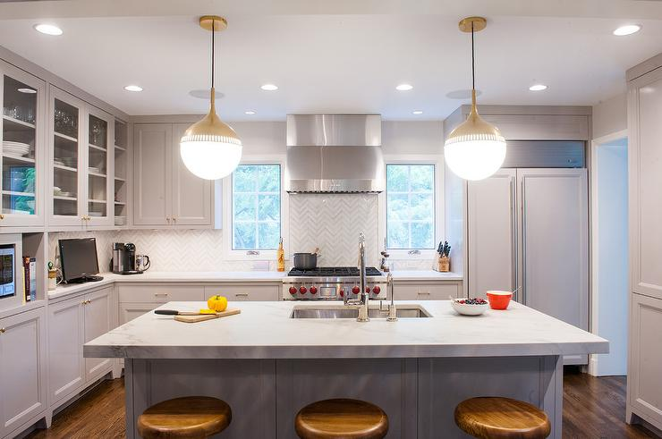 Gold and gray kitchen with jonathan adler rio pendants gold and gray kitchen with jonathan adler rio pendants aloadofball Image collections