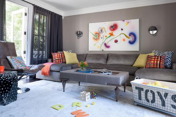 Gray Family Room With Gray U Shaped Sectional