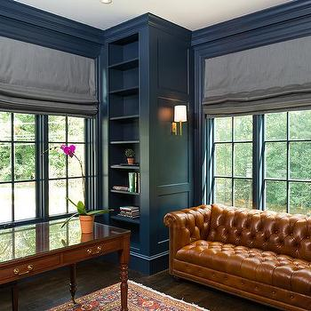 Blue Paneled Den With Brown Leather Chesterfield Sofa