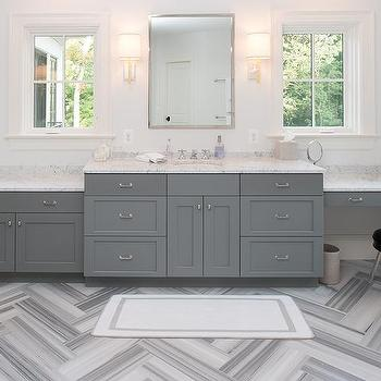 Superieur Gray Bathroom With Gray Marble Herringbone Floor Tiles