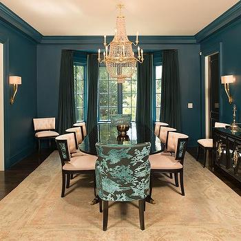 Peacock Blue Dining Room With Black Lacquered Buffet Cabinet