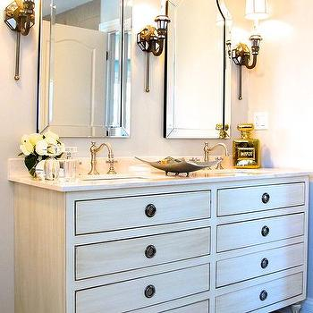arched bathroom alcove with french washstand and venetian mirror layered over antiqued mirror. Black Bedroom Furniture Sets. Home Design Ideas