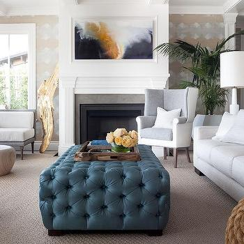 Navy Tufted Coffee Table Ottoman Design Ideas