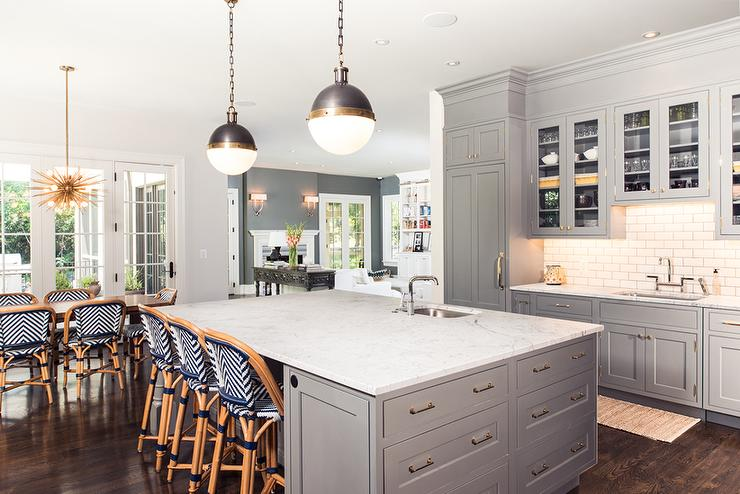 Gray Kitchen With Navy Chevron Riviera Stools