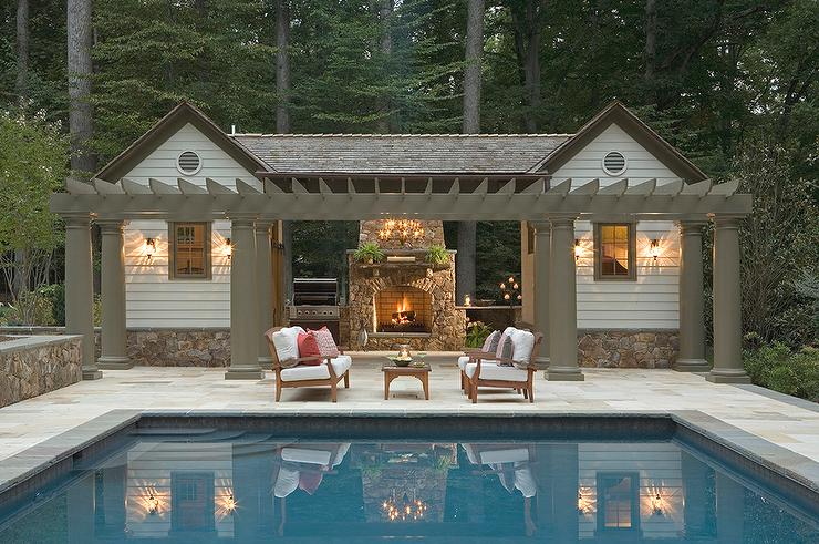 Outdoor Kitchen with Stone Fireplace - Transitional - Pool
