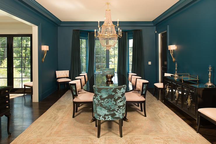 peacock blue dining room features walls painted peacock blue lined
