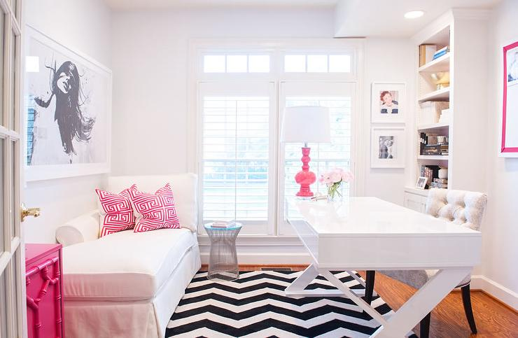 Popular White and Pink Office with Black and White Chevron Rug  QB26